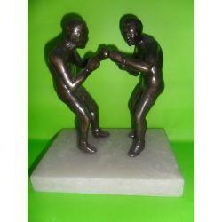 Escultura de bronce Boxeo sobre marmol 17 cm