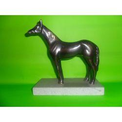 Escultura de bronce Caballo de bronce sobre marmol 16 cm