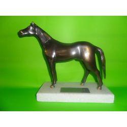 Escultura de bronce Caballo de bronce sobre marmol 18 cm