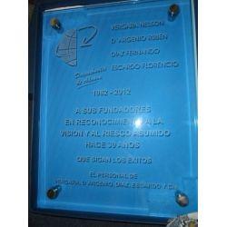 Placa de vidrio azul para pared con separador botón metal