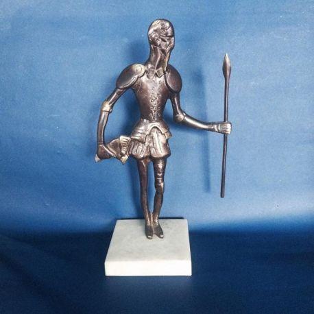 Escultura Quijote bronce fundido sobre mármol