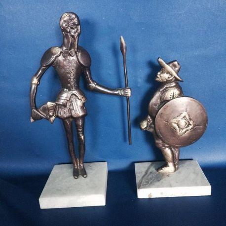 Escultura Quijote con Sancho bronce fundido sobre mármol